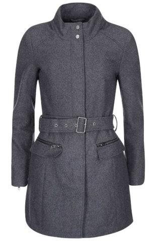 Tmavě šedý dámský kabát s páskem
