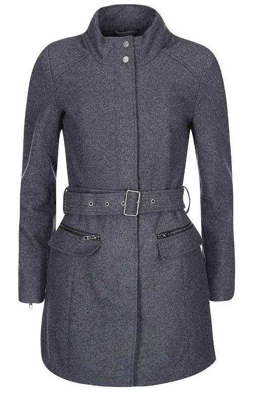 Tmavě šedý dámský kabát s páskem 60ee8c76495