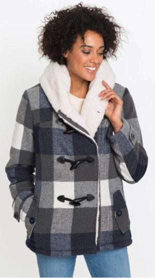 Vlněná dámská zimní kostkovaná bunda s plyšovou podšívkou
