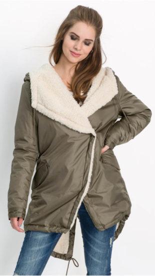 Zavinovací zimní bunda pro plnoštíhlé