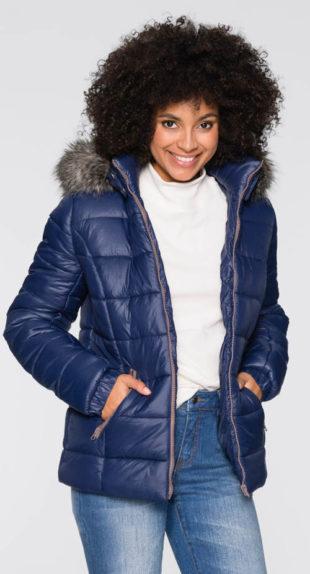 Zimní bunda s odnímatelnou kapucí a umělou kožešinou