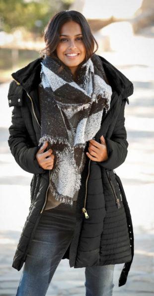 Zimní prošívaná těhotenská bunda
