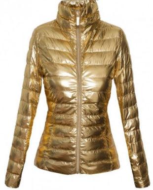 Zlatá lesklá dámská bunda
