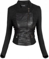 Černá dámská kožená bunda do pasu
