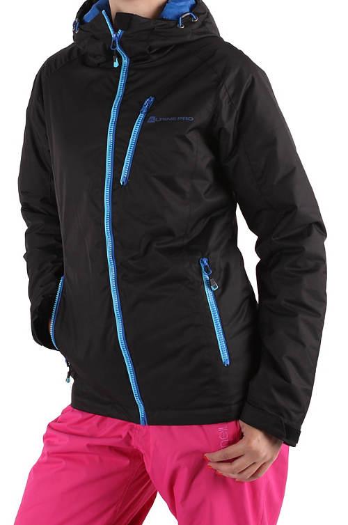 Černá zimní bunda s modrými zipy