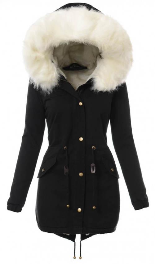 Černý dámský kabát se šňůrkou v pase
