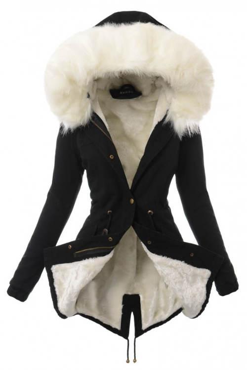 Černý dámský kabátek s bílou kožešinovou kapucí
