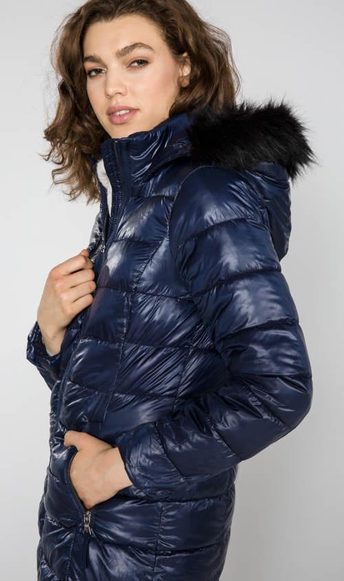 Dámská modrá zimní prošivaná bunda