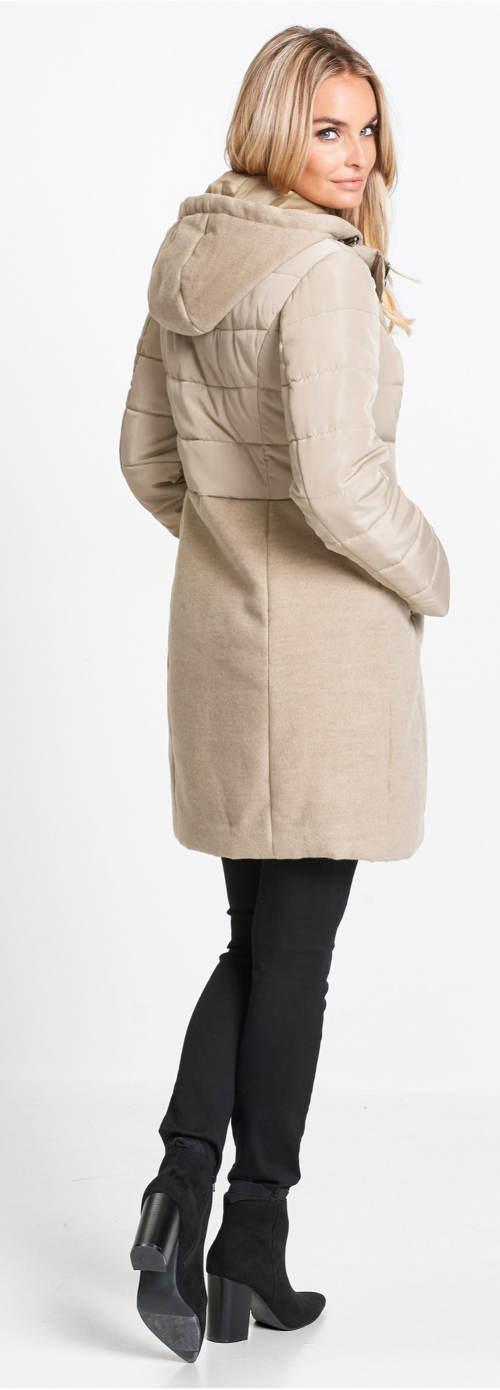 Dlouhá dámská zimní béžová bunda