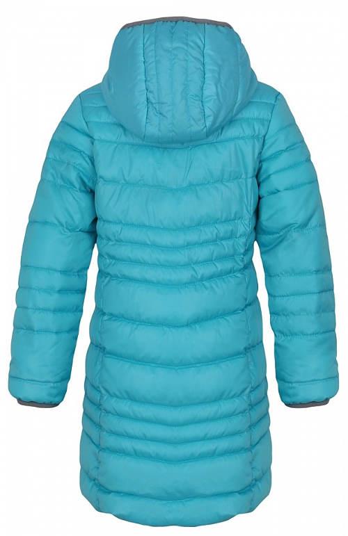 Dlouhý prošívaný dětský kabát s kapucí
