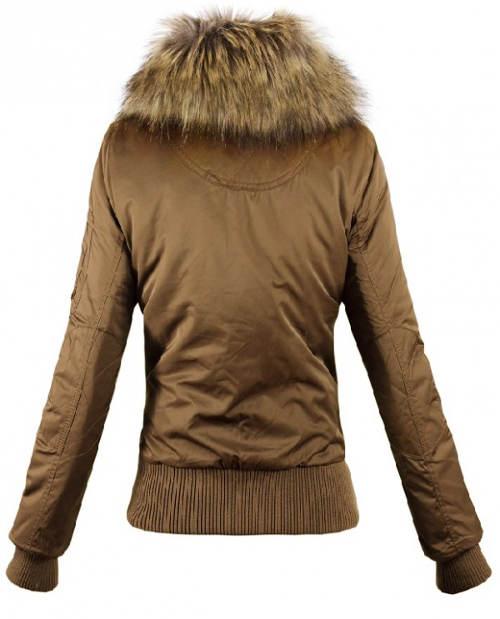Hnědá krátká dámská zimní bunda