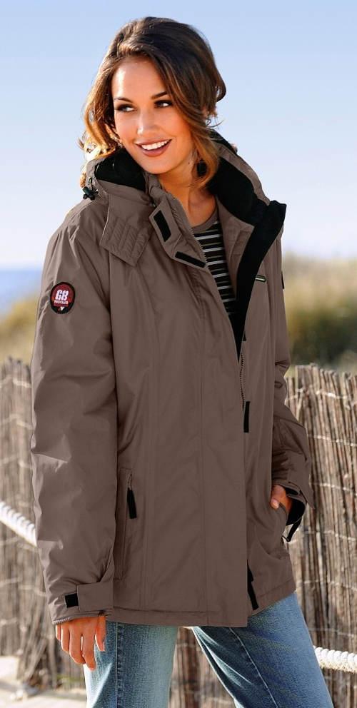 Hnědá sportovní dámská zimní bunda
