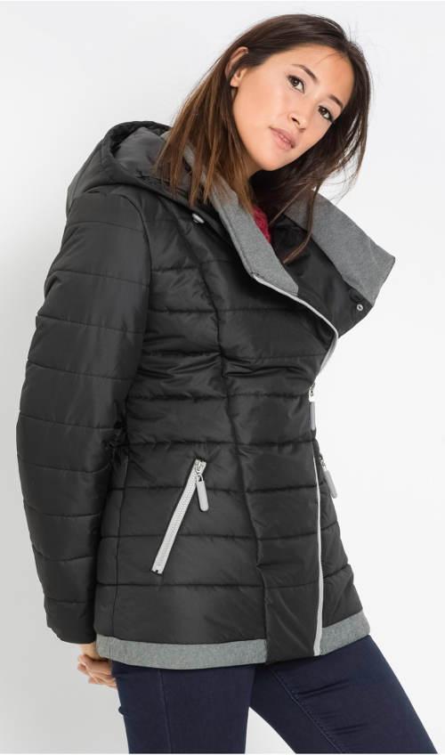 Krátký zimní prošívaný kabát s páskem