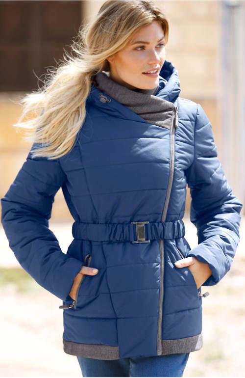 Modrá dámská zimní bunda s opaskem