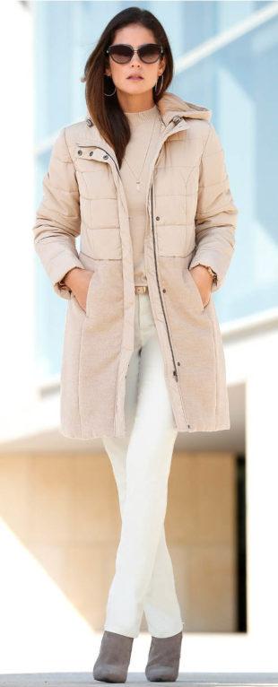 Prošívaný dámský zimní kabát s vatováním