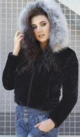Sametová dámská bunda s velkou kožíškovou kapucí