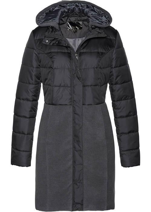 Tmavě šedý dámský zimní kabát