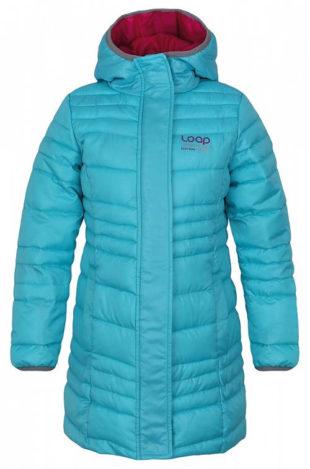 Tyrkysový dětský kabát Loap