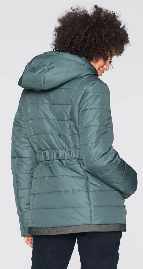 Zeleno-šedá dámská zimní bunda