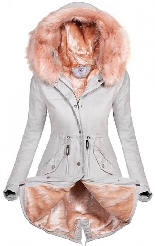 Bílá dámská zimní bunda s růžovou kožešinou
