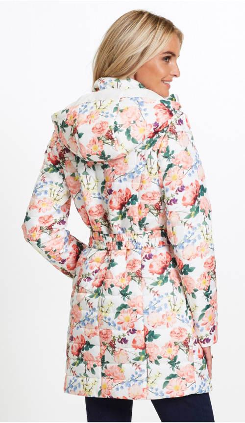 Bílá dámská zimní bunda s květinovým potiskem
