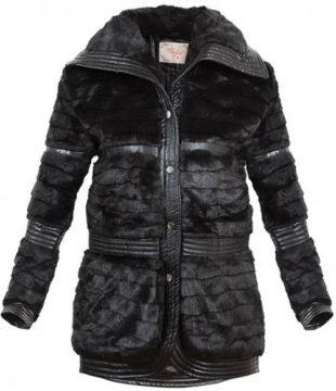 Černá zímní bunda z falešné kožešiny