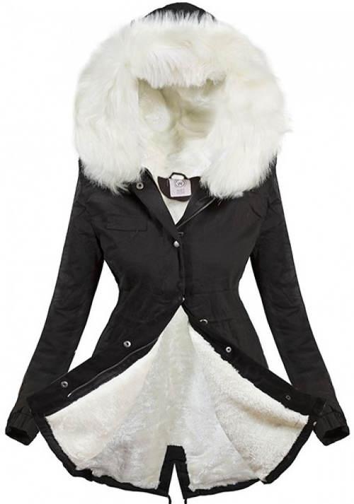 Černá zimní bunda parka s bílým kožíškem
