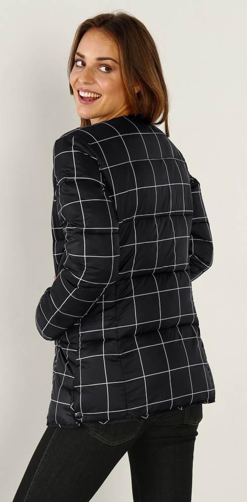 Černobílá karovaná dámská bunda