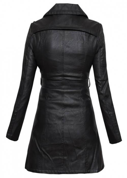 Černý dámský kabát umělá kůže