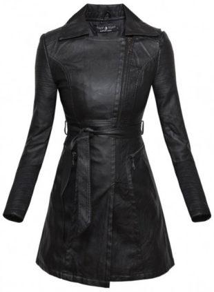 Černý dámský kožený kabát FATIMAH