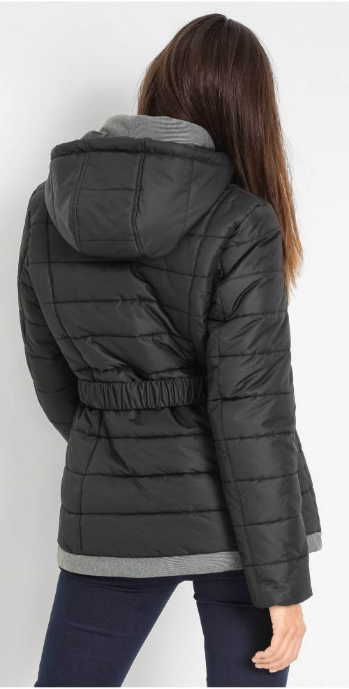 Černý dámský krátký zimní prošívaný kabát
