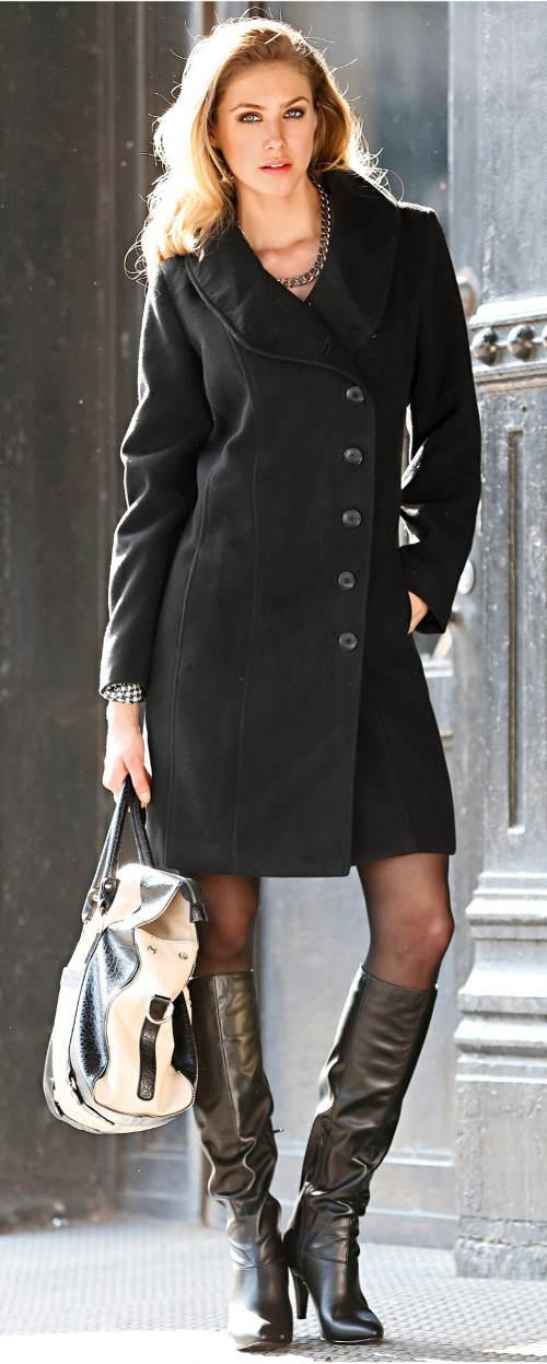 Černý podzimní dámský kabát