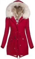 Červená dámská parka bunda s bílým kožíškem