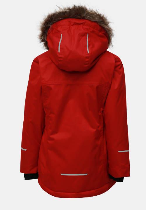 Červená dívčí zimní bunda s kapucí