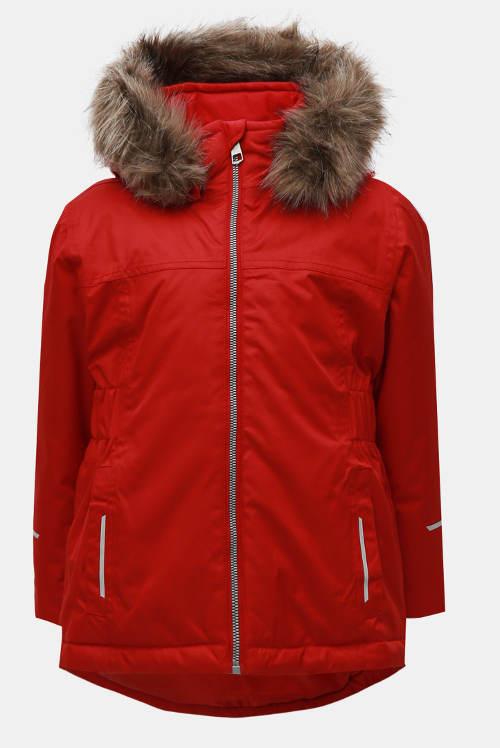 Červená holčičí funkční zimní bunda