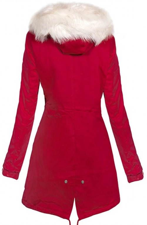 Červený dámský zimní kabát s bílou kožešinou