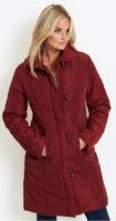 Červený prošívaný dámský zimní kabát