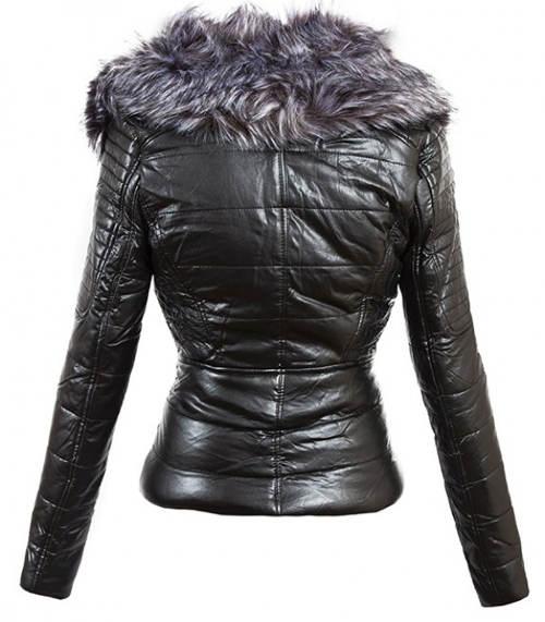 Dámská bunda z umělé kůže s bohatým kožíškem