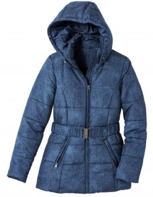 Dámská džínová zimní bunda s kapucí