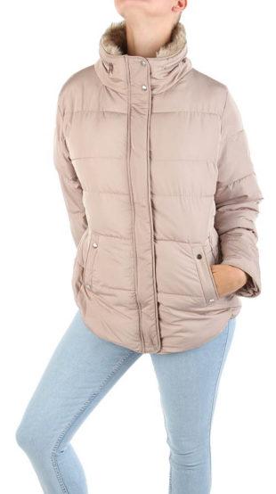 Dámská fashion zimní bunda v starorůžovém provedení
