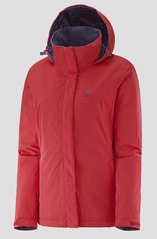 Dámská klasická zimní bunda Salomon v červeném provedení