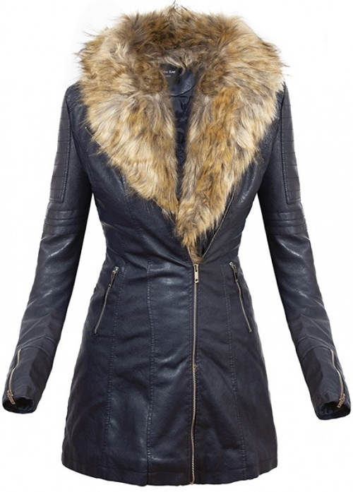 Dámská kožená bunda s liškou