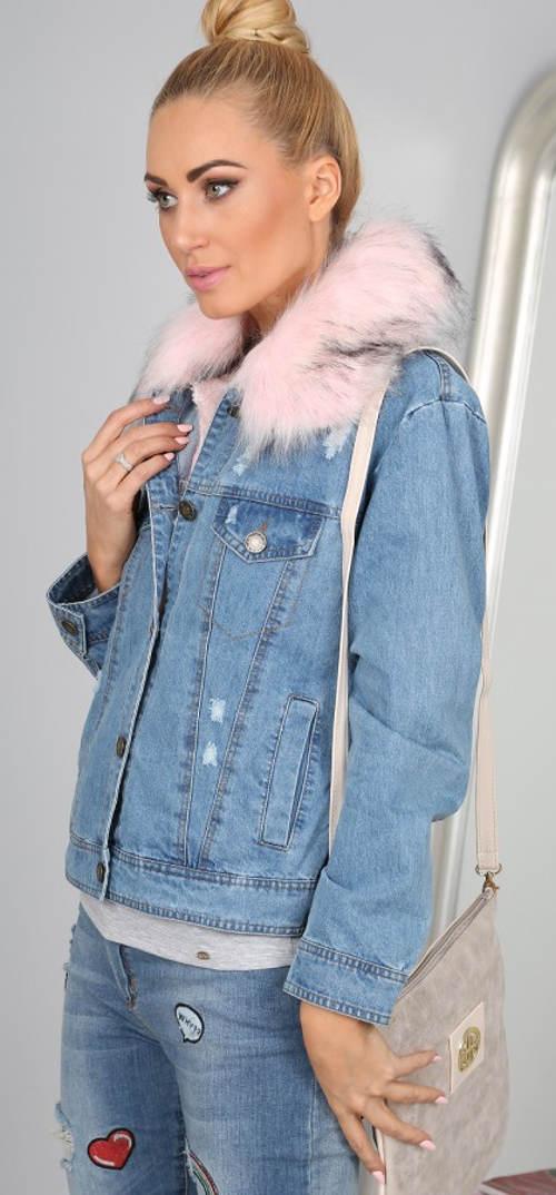 Dámská riflová bunda s kožíškem