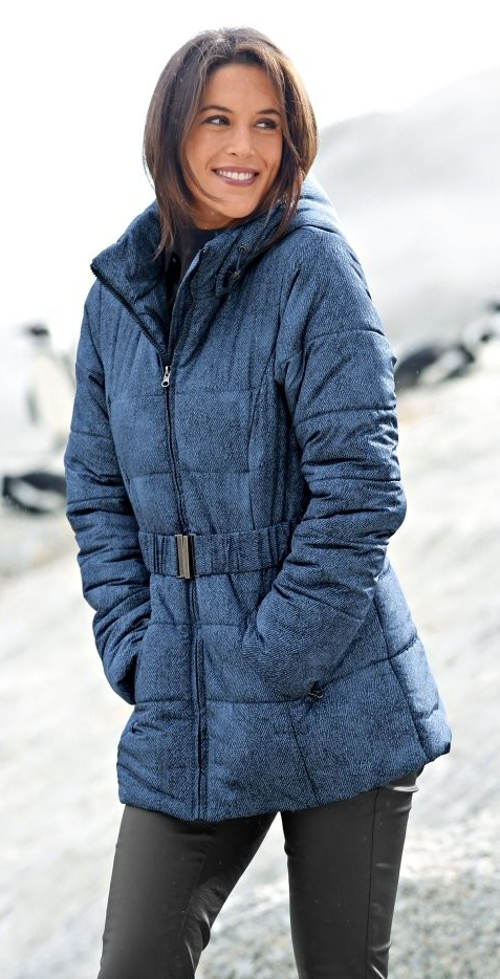 Dámská zimní bunda džínového vzhledu