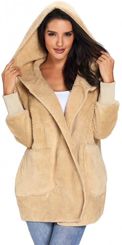 Dámský béžový fleecový kabát s kapucí