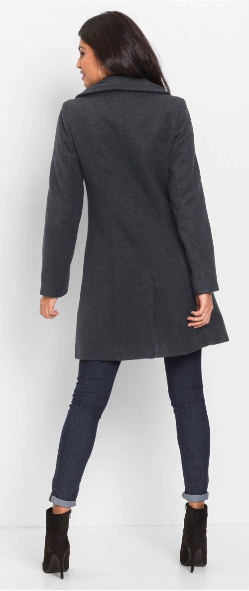 Dámský zimní kabát šedý melír