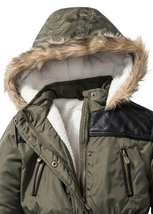Dětská zimní bunda s koženkovými vsadkami