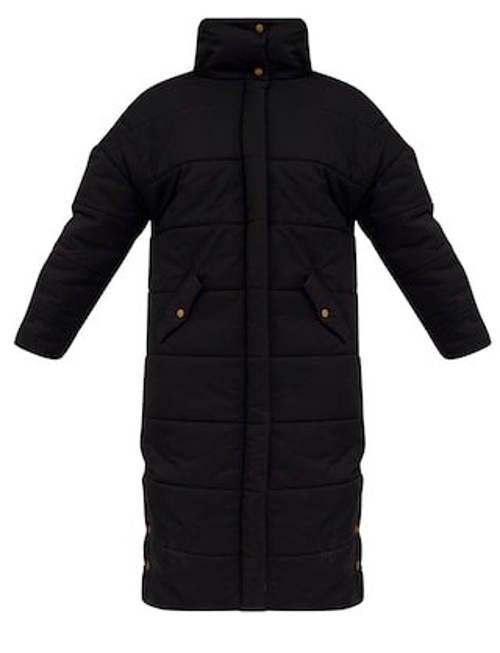 Dlouhá černá dámská zimní bunda