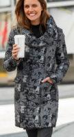 Dlouhá dámská zimní bunda s velkým šálovým límcem