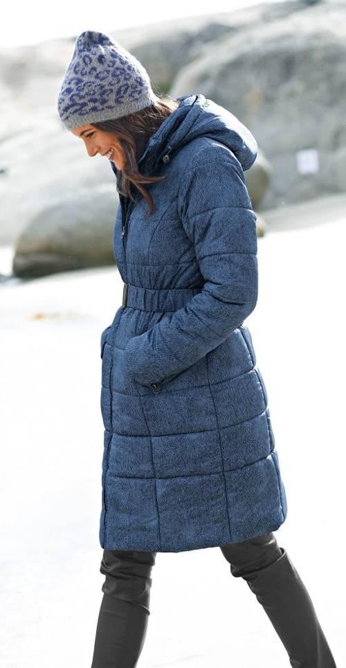 Dlouhá dámská zimní džínová bunda